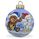 8,3cm orso con Balalaika cappello da Babbo palla di vetro e di Natale