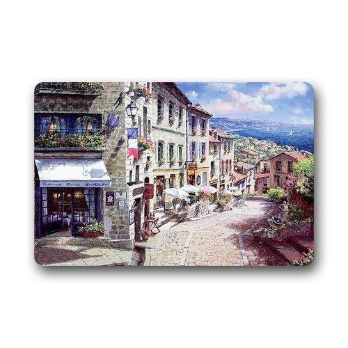 Uosliks Design Fashion European Style Doormat, Most Beautiful Nice France The City Watercolor Painting Doormat 15.7-Inch by 23.6-Inch TürmatteFloor Mat Decor Gorgeous Mat