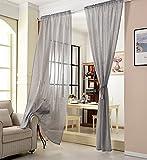 WOLTU VH5859dgr, Gardinen Transparent mit Kräuselband Leinen Optik, Vorhang Stores Voile lichtdurchlässig Fensterschal Dekoschal für Wohnzimmer Schlafzimmer, 140x245 cm, Grau, (1 Stück)
