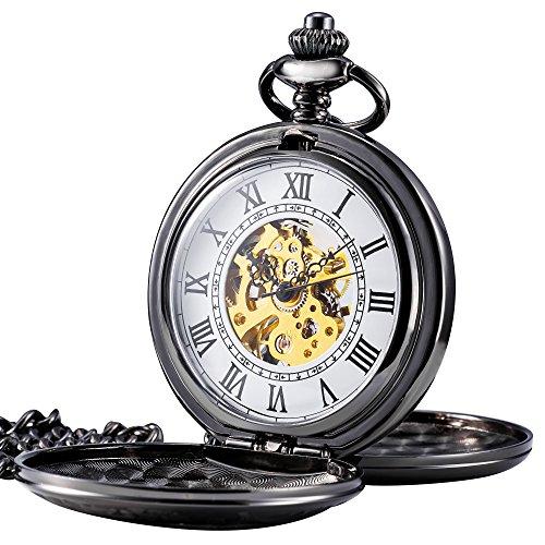 TREEWETO Retro Handaufzug Doppelabdeckungen Taschenuhr Herren Mechanisch Skelett Uhr Römische Ziffern Taschenuhren mit Kette und Geschenkbox Farbe: Grauschwarz