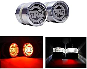 Andride Motorcycle/Bike Handlebar/Handle Weight Light Indicators for Royal Enfield Bar End Turn Signal Grip (Chrome White and Red)