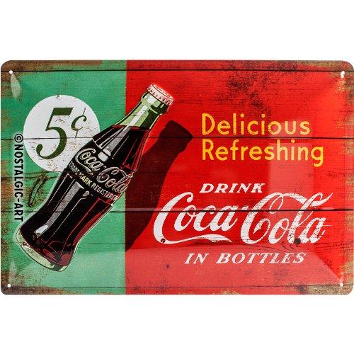 Nostalgic-Art Coca Cola Delicious Refreshing Green - Placa decorativa, metal, 20 x 30 cm, color rojo y verde