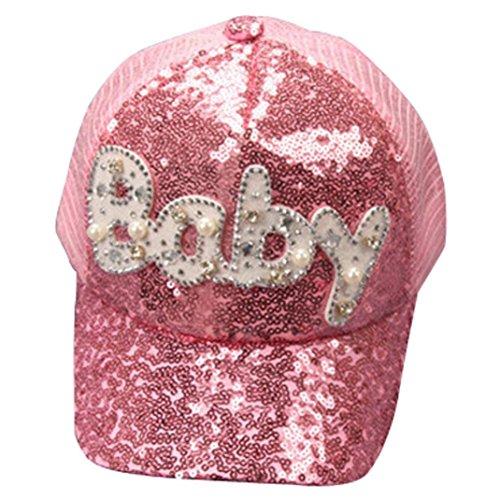 Imagen de qinmm  de béisbol de las lentejuelas del bebé niños niñas, sombrero ajustable del hip hop de snapback rosa