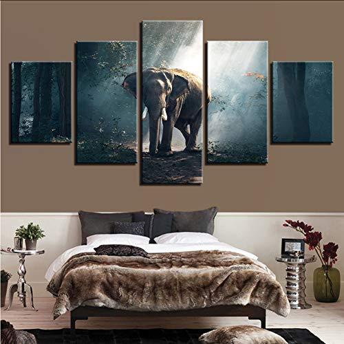 ljtao Lienzo Moderno Impreso HD Sala De Estar Fotos 5 Panel Elefantes...