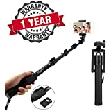 Starford Selfie Stick Extendable Handheld Monopod Self Portrait With Zoom Bluetooth Shutter With Locust Series Pocket Sized Selfie Stick Monopod With AUX Selfi Stick Compatible With All Smartphones (One Year Warranty)