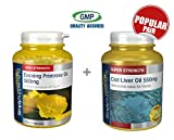 SimplySupplements Evening Primrose Oil 500mg 360 Capsules + Cod Liver Oil 550mg 360 Capsules |Heart & Immune Health Support