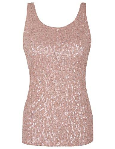 PrettyGuide Frauen Shimmer Glam Pailletten verziert Sparkle Trägershirt-Weste Tops XL/EU44-46 Mattes rosa