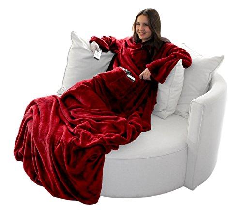 Brandsseller Flauschige TV-Decke mit Ärmeln in Cashmere Feeling - Fußsack und 2 Taschen - Kuscheldecke Tagesdecke - (170 x 200 cm, Rot)