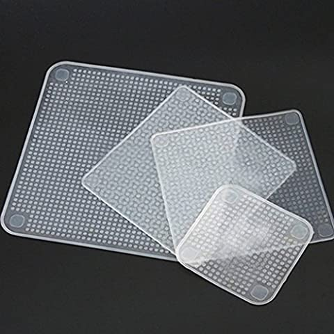 Gemini_mall® 4 Pcs Reusable Silicone Food Wraps Seal Cover Stretch Multifunctional Food Fresh Keeping Saran Wrap