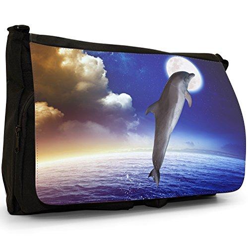 Delfini grande borsa a tracolla Messenger Tela Nera, scuola/Borsa Per Laptop Dolphin Jumping At Full Moon