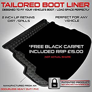 Honda JAZZ (2002 - 2008) Boot Liner Mat Tray With FREE Velour Carpet Insert R...