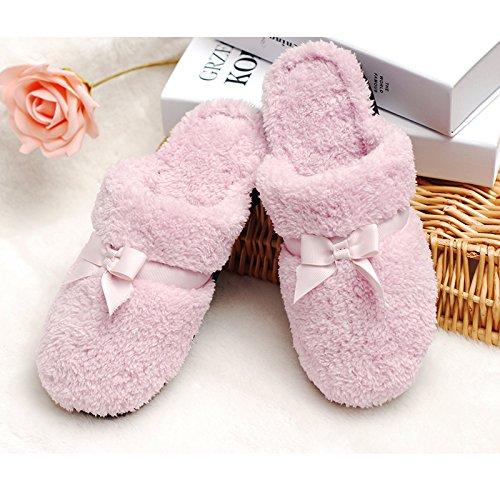 En automne et en hiver, maison pantoufles, femmes, coton, doux, confortable, chaud, insipide, peluche, semelle épaisse, anti-dérapant Pink