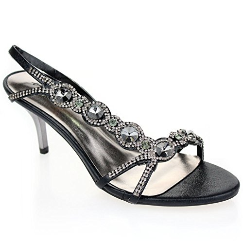 Aarz Frauen-Dame-Abend-Hochzeitsfest -Abschlussball High Heel Diamante Braut Sandale Schuh-Größe (Gold, Silber, Schwarz, Rot, Blau) Schwarz