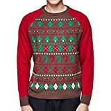 Blueberry Pet Medium Père Noël Fêtes de Fin d'année Pull Ras du Cou pour Homme, Poitrine 110cm, Manche 87cm, Lot de 1, Vêtement pour Homme