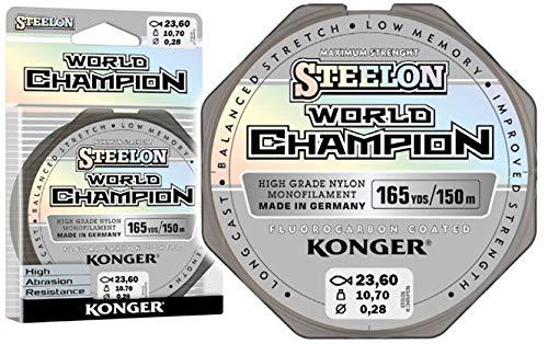 Konger Angelschnur World Champion Fluorocarbon Coated 0,10-0,30mm/150m Monofile Schnur super stark ! (0,28mm / 10,70kg)