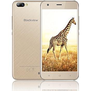 "Cellulare Offerta Blackview A7 Smartphone Android 7.0 3G Telefono Mobile-5.0"" HD - 1GB RAM + 8GB ROM - 2MP+5MP Fotocamera-2800mAh-Dual SIM/WiFi/GPS/Bluetooth Cellulare(Oro)"