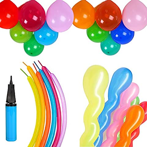 KUMEED Assorted Balloons Screwed Spiral Shape Twisty Modeling Balloons Magic Long Animal Latex Balloons Children Party Balloons 3 Style with Hand Air Pump Pack of 120