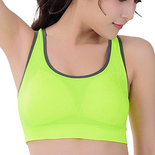 DELEY Femmes Rembourré Sans Armature Aérobic Danse Yoga Jogging Exercice Sport Soutien-Gorge Sommeil Gilet Vert