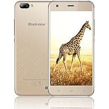 """Blackview A7 Smartphone Dual Sim da 8GB, 32GB Espandibili, Schermo 5.0"""" HD IPS Cellulare Offerta, Doppia Fotocamera 5 e 2 MP, Batteria 2800mAh, Android 7.0, WiFi/Bluetooth/Hotspot/GPS-Oro [Italia]"""