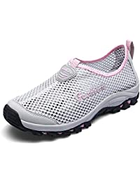 Yajie-shoes Zapatillas de Deporte Huecas de tacón Plano Respirable de los Hombres (Color
