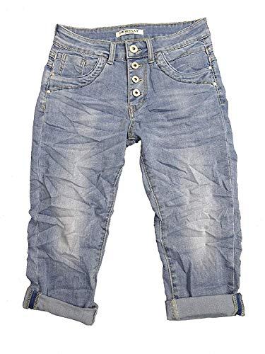Denim Krempel Boyfriend Baggy Stretch Shorts Bermuda Knöpfe offene Knopfleiste (Weitere Farben) (M, Denim Bermuda)