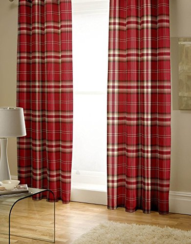 Catherine Lansfield Kelso Easy Care Pencil Pleat Curtains Red, 66×72 Inch