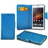 ONX3 (Baby Blue) Sony Xperia SP Super sottile Faux aspirazione del cuoio del rilievo del raccoglitore di caso della copertura della pelle con credito / debito Slot Card