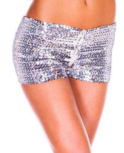 Smile YKK Short Paillette Femme Sexy Pantalon Court Brillant Eté Yoga Jogging Plage Clubwear Casual Blanc