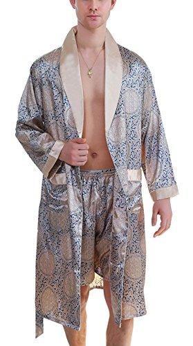 Aieoe Herren Schlafanzug Pyjama-Set Bademantel Set V-Ausschnitt Paisley Gelb und Blau 4XL