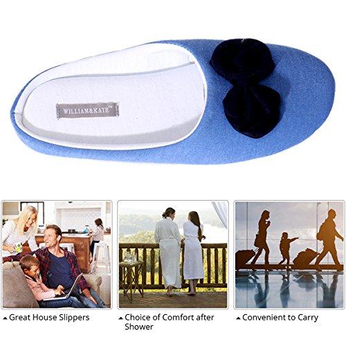 WILLIAM&KATE Pantofole di Cotone delle Donne Pantofole di Stile Giapponese Pantofole Antiscivolo Accoglienti Pantofole delle Coppie Casuali Pantofole Interne di Fondo Morbido Blu