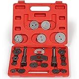 TecTake Set de 22 piezas de reposicionador de pistones de freno con 2 árboles Reposicionador con maletín rojo