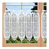 Edle Stickerei-Scheibengardine Fleur Weiß im French- Landhaus-Design – Zarter Panneaux mit Blumenstickerei