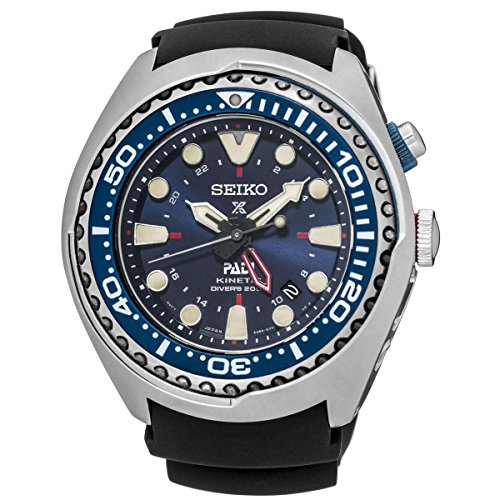 Gents Mens Steel Seiko Kinetic Special Edition PADI GMT Diver's Watch on Rubber Strap SUN065P1