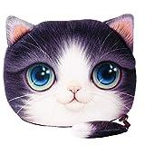 Sac à main souple et moelleux / Porte-monnaie (bourse) pour les jeunes filles et les femmes offert avec un joli dessin de chat/chatons (animal imprimé) avec un visage bénin, de grands yeux de chat, des oreilles de chat doux et une queue douce (couleur: violet-blanc)