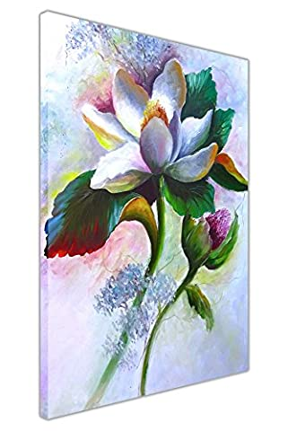 Spring White Lily Flower Oil Painting Re-Print on Framed Canvas