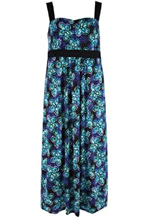 Yoursclothing Plus Size Womens Blue And Green Floral Print Jersey Maxi Dress Size 30-32 Multi