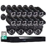 Lonnky Überwachungskamera Set, 16CH 2.0MP HD DVR Recorder mit 16 * 1080P Überwachungskameras, Smart Search/Playback Nachtsicht bis zu 25 Meter,Fernbedienung durch Android/iOS(4TB HDD)