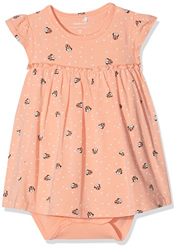 NAME IT Baby-Mädchen NBFMINNIE Petra SS Dress WDI Kleid, Mehrfarbig (Blooming Dahlia), 68 (Kleid Stiefel Für Mädchen)