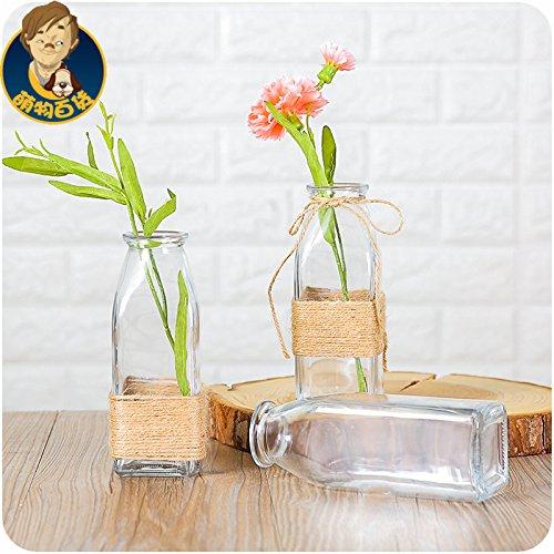 Transparente Trinkflasche Square Glasvasen, Die Flasche Mit Korken Verschluss Flasche - Glas Vase Kaffee Direkt Aus Der Flasche (Glas Square Glas Mit Korken)
