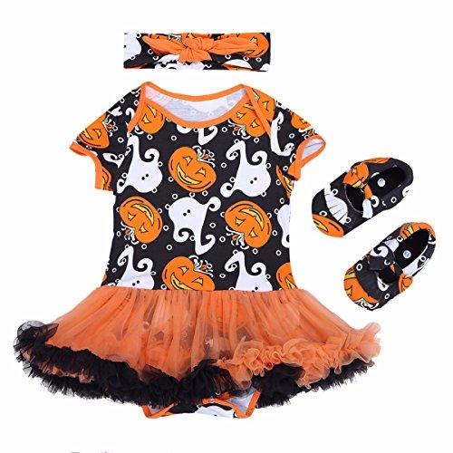 FEESHOW 3tlg. Baby Mädchen Kürbis Halloween Kostüm Outfits Strampler mit Stirnband und Schuhe Kleinkind Kleidung 0-12 Monate Orange & Schwarz & Weiß 74/6-9 Monate