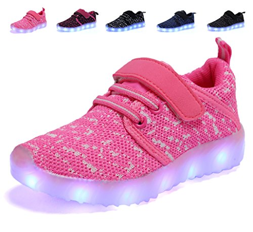 nishiguang LED Leuchten Schuhe Kinder Mädchen Jungen Breathable blinkende Slip-On Sneakers (Kleinkind/kleines Kind/großes Kind) Rosa28