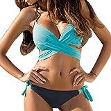 Damen Bikini-Sets Bademode Bikini Push-up Bikinioberteil mit Nackenträger - Seitlich Gebunden Bikinihose und Neckholder Bikini Bademode für Damen