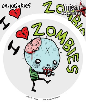 """Dr Krinkles - I Heart Zombies Sticker - 4.5"""" - Weather Resistant, Long Lasting for Any Surface"""