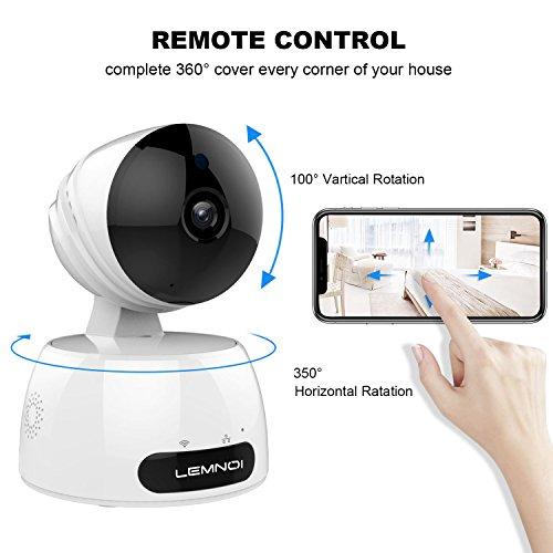 Lemnoi Cámara IP 1080P HD WiFi Cámara de vigilancia, Audio bidireccional, Sensor de Movimiento Pan/Tilt / Zoom, visión Nocturna por Infrarrojos, Control Remoto, Compatible con iOS y Android y PC