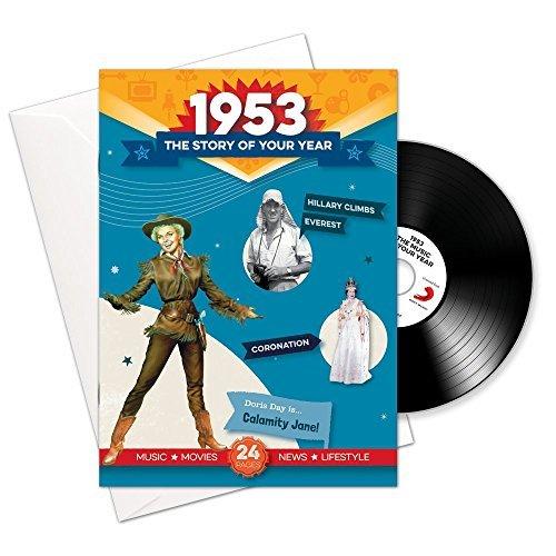 1953 cumpleaños o aniversario regalos - 1953 4-en-1 tarjeta y regalo - Historia de su Año, CD, Music Download - 15 Gráfico originales Canciones - Presente Retro Para Hombres y Mujeres