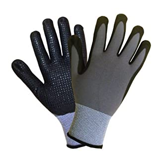 36 pairs, Mirco-Foam Nitrile Coated Gloves- Premium Gray 15 Gauge Nylon/Lycra, Black Mxflex Foam Palm with dots (Large) by Azusa Safety