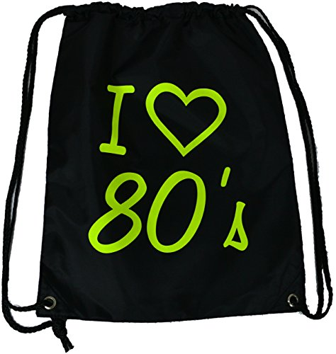 I Love the 80's Drawstring Bag with Yellow Lettering