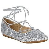 Spitze Damen Ballerinas Pastell Flats Riemchen Cut-Outs Schuhe 155271 Silber Glitzer Cabanas 40 Flandell