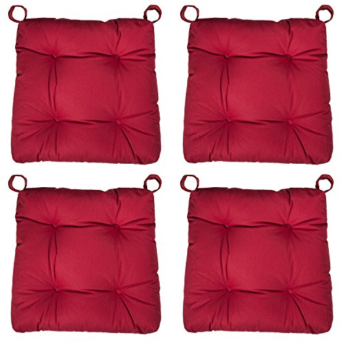sleepling 190201 Basic 20 bequemes Stuhlkissen / Sitzkissen für Indoor und Outdoor 4er Set rot