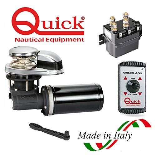 BTK Kit Quick Salpa Ancora Verricello CL1 Elettrico da 500W 12 Volt con Catena da 6 mm e Telecomando per Barca Nautica Gommone Mare